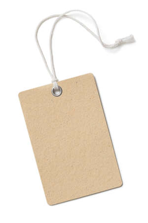 Blank brown cardboard price tag or label isolated