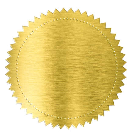 gold metal foil sticker seal label isolated with clipping path included