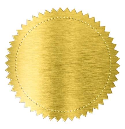 Foto de gold metal foil sticker seal label isolated with clipping path included - Imagen libre de derechos