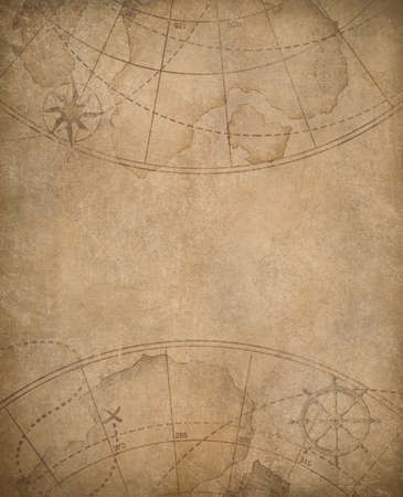 aged nautical map background with copyspace in center