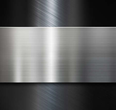 Foto de metal plate over black brushed metallic surface - Imagen libre de derechos