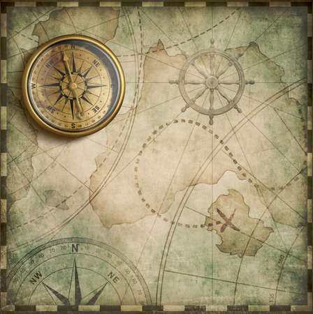 brass compass and old treasure map