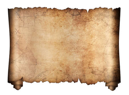 Foto de old treasure map roll isolated on white - Imagen libre de derechos
