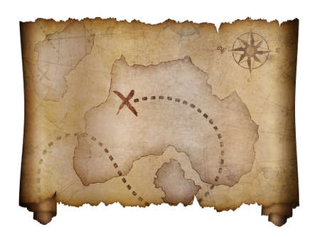 Photo pour old pirates treasure map isolated on white - image libre de droit