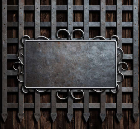 metal plate on medieval castle wall or metal gate background