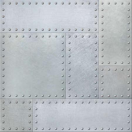Photo pour Metal plates with rivets seamless background or texture - image libre de droit