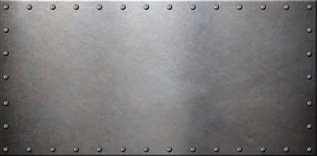 Photo for old steel metal plate with rivets - Royalty Free Image