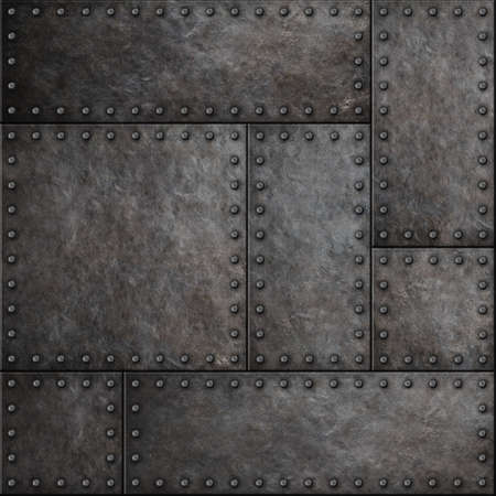Photo pour Dark metal plates with rivets seamless background or texture - image libre de droit