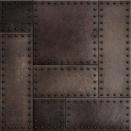 Photo pour Dark rusty metal plates with rivets seamless background - image libre de droit