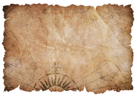 Old torn vintage nautical map