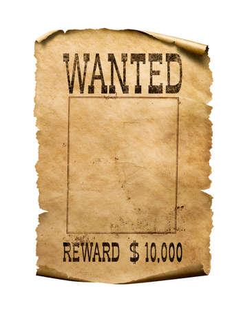 Photo pour Wanted wild west poster on white background - image libre de droit