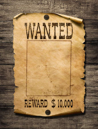 Photo pour Wanted wild west poster on wood wall - image libre de droit