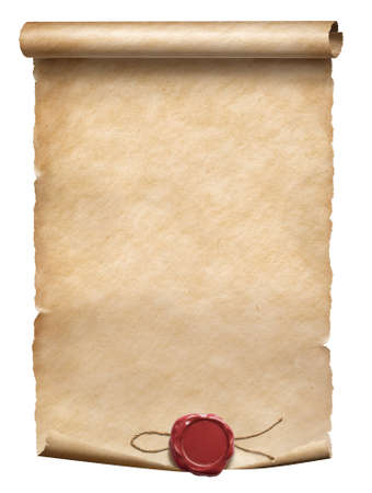 Photo for Old parchment scroll with wax seal isolated on white - Royalty Free Image