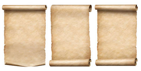 Foto de Old paper or parchment scrolls collection isolated on white - Imagen libre de derechos