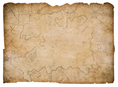 Photo pour nautical pirates hidden treasure map isolated on white - image libre de droit