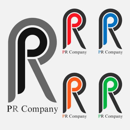 logo pr company letter eps8