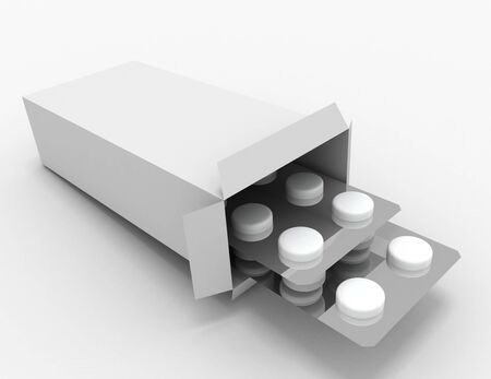 open medicine packet . 3d rendered illustration