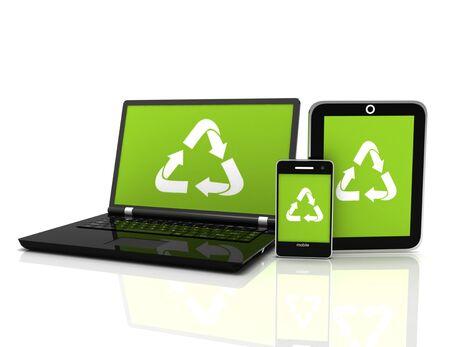 Photo pour 3D Laptop with a recycling symbol on screen. environmental conservation concept - image libre de droit