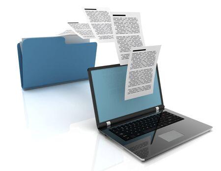 Photo pour Files transfer between laptops and folder. 3d illustration. - image libre de droit