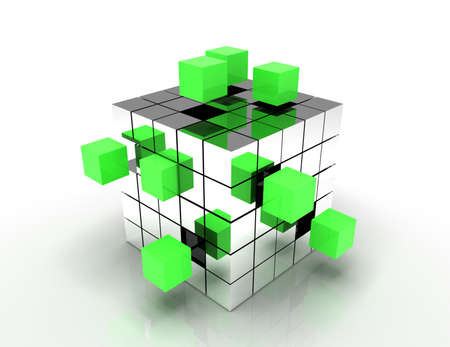 Photo pour teamwork business concept - cube assembling from blocks - image libre de droit