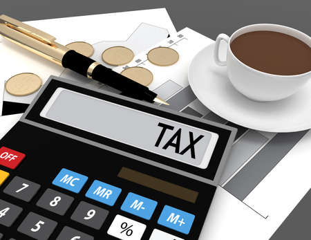 Photo for 3d calculator with the word tax on the display - Royalty Free Image