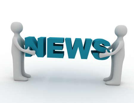 Photo pour 3d man and word news - image libre de droit