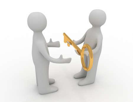 Photo pour 3d man giving golden key to another person - image libre de droit