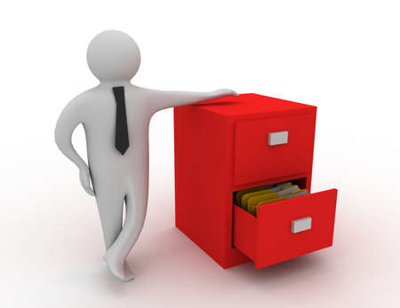 Foto für 3d man and open drawer with folders - Lizenzfreies Bild