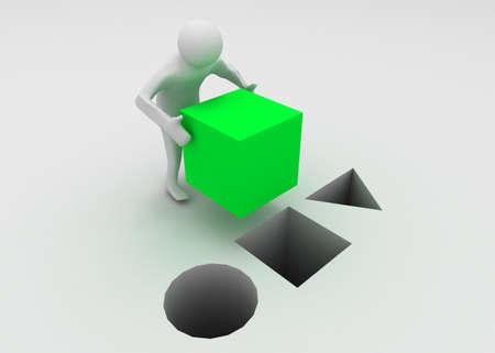 Photo pour 3d man with cube - image libre de droit