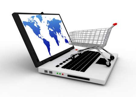 Foto de cart with notebook concept - Imagen libre de derechos