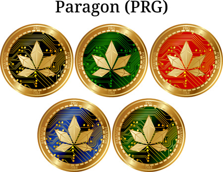 Set of physical golden coin Paragon (PRG), digital crypto-currency.