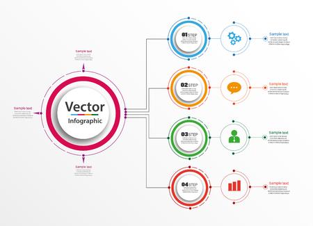 Illustration pour Infographic design template. Business concept with options and 4 steps. For content, diagram, flowchart, steps, parts, timeline infographics, workflow layout, chart, illustration. Vector - image libre de droit