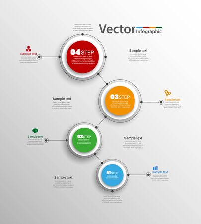 Illustration pour Abstract infographics number options template with steps. Can be used for workflow layout, diagram, business step options, banner, web design. - image libre de droit