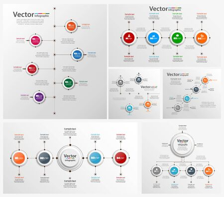 Illustration pour Collection of colorful infographic can be used for workflow layout, diagram, number options, web design. Infographic business concept with options, parts, steps or processes. - image libre de droit