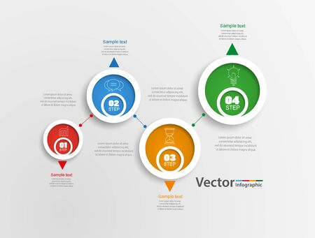 Illustration pour Infographics design template. Business concept with 4 steps or options, can be used for workflow layout, diagram, annual report, web design.Creative banner, label vector - image libre de droit