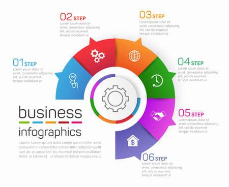 Illustration pour Circle shape business infographics  vector design template with 6  options, steps or processes for presentation - image libre de droit