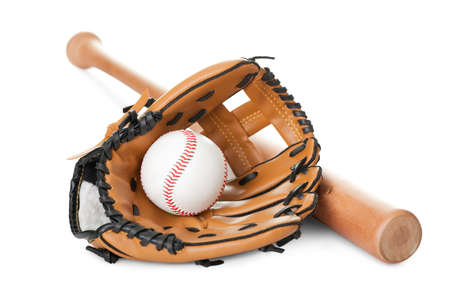Leather glove with baseball and bat isolated over white backgroundの写真素材