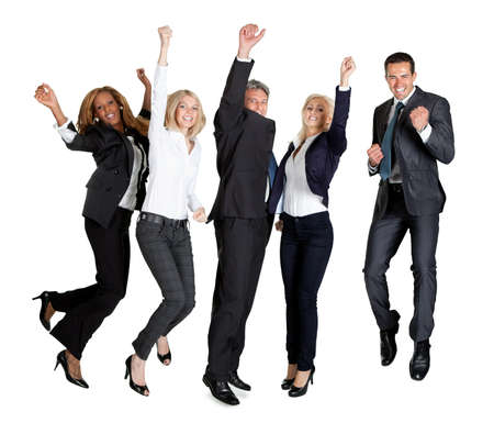 Portrait of multi ethnic team of business people rejoicing success on white backgroundの写真素材