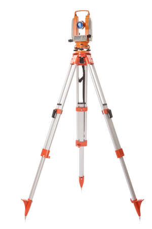 Survey equipment theodolite on a tripod  Isolated on white