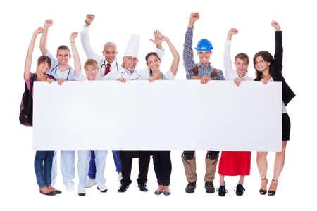 Photo pour Large group of people representing diverse professions including - image libre de droit