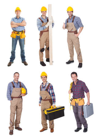 Photo pour Industrial construction workers. Isolated on white background - image libre de droit