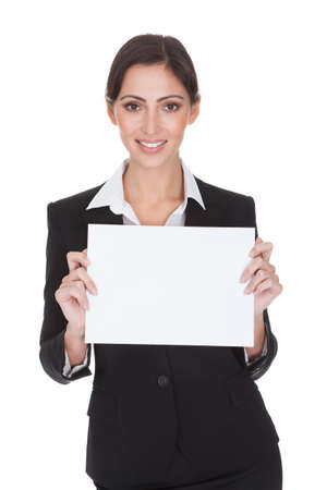 Happy Smiling Young Business Woman Holding Blank Placard. Isolated On White