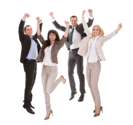 Portrait Of Happy Successful Business Group Over White Background