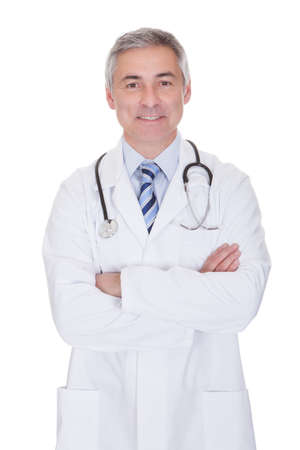Portrait Of Happy Mature Male Doctor Isolated Over White Background