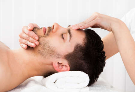 Man getting massage in the spa centre