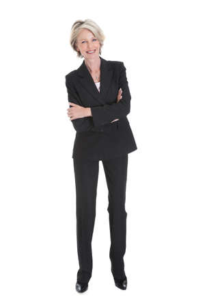 Portrait Of Happy Businesswoman On White Backgroundの写真素材