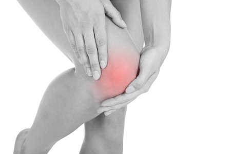 Close up of woman leg injury isolated on white background