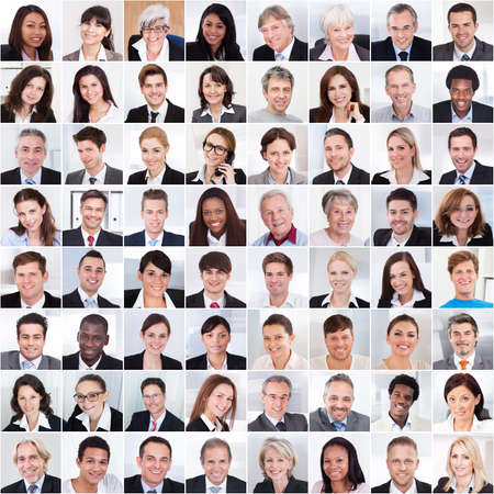 Foto de Collage photo of multiethnic business people smiling - Imagen libre de derechos