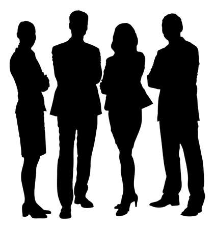 Illustration pour Full length of silhouette business people standing with arms crossed against white background. Vector image - image libre de droit