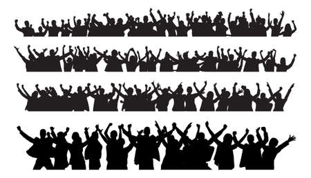 Illustration pour Collage of silhouette business people raising arms in victory against white background. Vector image - image libre de droit